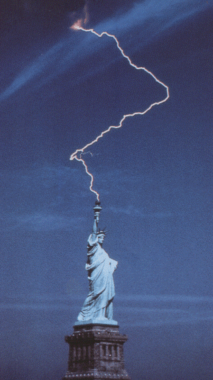 Lightning strikes miss Liberty