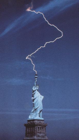 Lightning strikes miss Liberty